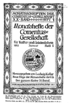 Monatshefte der Comenius-Gesellschaft für Kultur und Geistesleben, Januar 1911, 20. Band, Heft 1