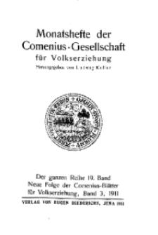 Monatshefte der Comenius-Gesellschaft für Volkserziehung, 1911, 19. Band, Inhalts