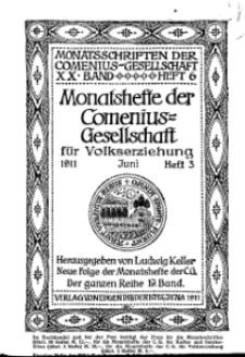 Monatshefte der Comenius-Gesellschaft für Volkserziehung, Juni 1911, 19. Band, Heft 3