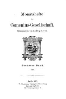 Monatshefte der Comenius-Gesellschaft, 1897, 6. Band, Inhalt
