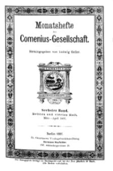 Monatshefte der Comenius-Gesellschaft, März - April 1897, 6. Band, Heft 3-4
