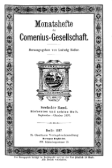 Monatshefte der Comenius-Gesellschaft, September - Oktober 1897, 6. Band, Heft 7-8