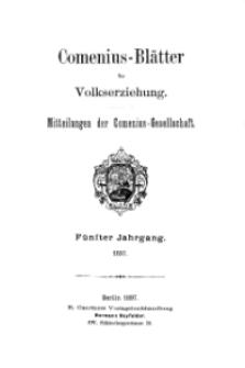 Comenius-Blätter für Volkserziehung, 1897, V Jahrgang, Inhalt