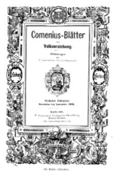 Comenius-Blätter für Volkserziehung, November - Dezember 1898, VI Jahrgang, Nr. 9-10