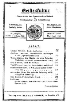 Geisteskultur. Monatshefte der Comenius-Gesellschaft für Kultur und Geistesleben, Mai - Juni 1925, 34. Band, Heft 5-6