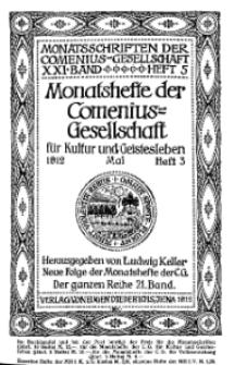 Monatshefte der Comenius-Gesellschaft für Kultur und Geistesleben, Mai 1912, 21. Band, Heft 3