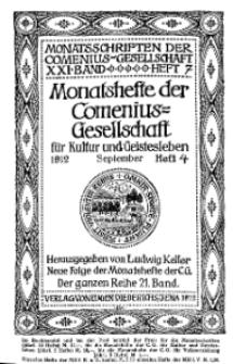 Monatshefte der Comenius-Gesellschaft für Kultur und Geistesleben, September 1912, 21. Band, Heft 4