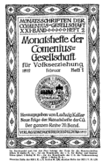 Monatshefte der Comenius-Gesellschaft für Volkserziehung, Februar 1912, 20. Band, Heft 1