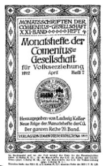 Monatshefte der Comenius-Gesellschaft für Volkserziehung, April 1912, 20. Band, Heft 2