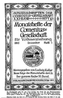 Monatshefte der Comenius-Gesellschaft für Volkserziehung, Dezember 1912, 20. Band, Heft 5