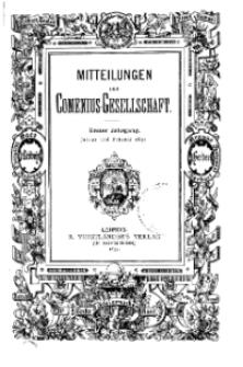 Mitteilungen der Comenius-Gesellschaft, Januar - Februar 1893, I Jahrgang, Nr. 1-2