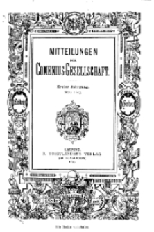 Mitteilungen der Comenius-Gesellschaft, März 1893, I Jahrgang, Nr. 3