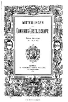 Mitteilungen der Comenius-Gesellschaft, Juni - Juli 1893, I Jahrgang, Nr. 6-7