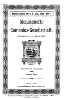 Monatshefte der Comenius-Gesellschaft, 15 September 1904, 13. Band, Heft 4