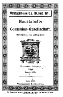 Monatshefte der Comenius-Gesellschaft, 15 Januar 1905, 14. Band, Heft 1