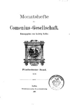 Monatshefte der Comenius-Gesellschaft, 1906, 15. Band, Inhalt