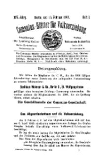 Comenius-Blätter für Volkserziehung, 15 Februar 1906, XIV Jahrgang, Heft 1