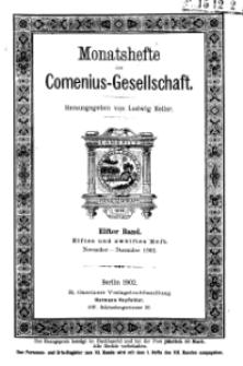 Monatshefte der Comenius-Gesellschaft, November - Dezember 1902, 11. Band, Heft 11-12