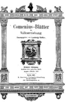 Comenius-Blätter für Volkserziehung, August - Oktober 1902, X Jahrgang, Heft 8-10