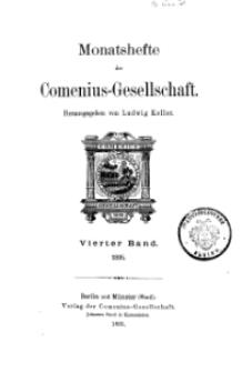 Monatshefte der Comenius-Gesellschaft, 1895, 4. Band, Inhalt