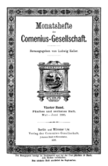 Monatshefte der Comenius-Gesellschaft, Mai - Juni 1895, 4. Band, Heft 5-6