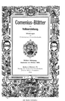 Comenius-Blätter für Volkserziehung, September - Oktober 1895, III Jahrgang, Nr. 7-8