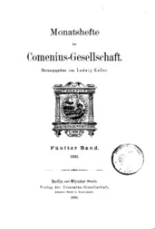 Monatshefte der Comenius-Gesellschaft, 1896, 5. Band, Inhalt