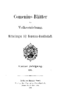 Comenius-Blätter für Volkserziehung, 1896, IV Jahrgang, Inhalt