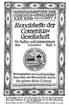 Monatshefte der Comenius-Gesellschaft für Kultur und Geistesleben, September 1913, 22. Band, Heft 4
