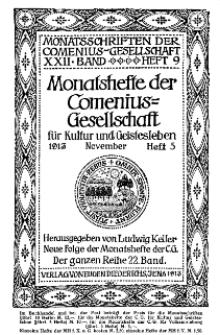 Monatshefte der Comenius-Gesellschaft für Kultur und Geistesleben, November 1913, 22. Band, Heft 5