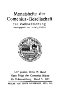 Monatshefte der Comenius-Gesellschaft für Volkserziehung, 1913, 21. Band, Inhalts