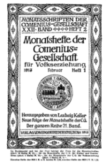 Monatshefte der Comenius-Gesellschaft für Volkserziehung, Februar 1913, 21. Band, Heft 1