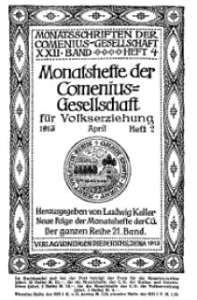 Monatshefte der Comenius-Gesellschaft für Volkserziehung, April 1913, 21. Band, Heft 2