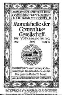 Monatshefte der Comenius-Gesellschaft für Volkserziehung, Juni 1913, 21. Band, Heft 3