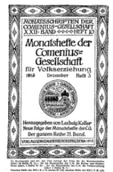 Monatshefte der Comenius-Gesellschaft für Volkserziehung, Dezember 1913, 21. Band, Heft 5