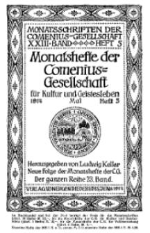 Monatshefte der Comenius-Gesellschaft für Kultur und Geistesleben, Mai 1914, 23. Band, Heft 3