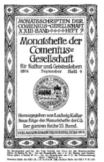 Monatshefte der Comenius-Gesellschaft für Kultur und Geistesleben, September 1914, 23. Band, Heft 4