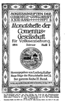 Monatshefte der Comenius-Gesellschaft für Volkserziehung, Februar 1914, 22. Band, Heft 1