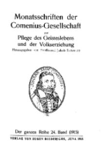 Monatshefte der Comenius-Gesellschaft für Kultur und Geistesleben, 1915, 24. Band, Inhalts