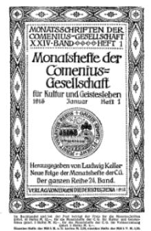 Monatshefte der Comenius-Gesellschaft für Kultur und Geistesleben, Januar 1915, 24. Band, Heft 1