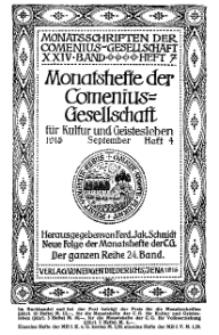 Monatshefte der Comenius-Gesellschaft für Kultur und Geistesleben, September 1915, 24. Band, Heft 4