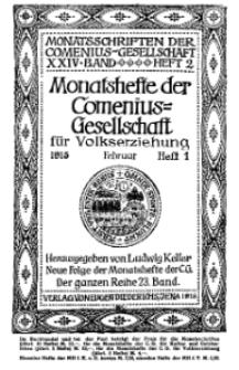 Monatshefte der Comenius-Gesellschaft für Volkserziehung, Februar 1915, 23. Band, Heft 1