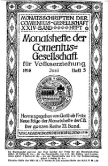 Monatshefte der Comenius-Gesellschaft für Volkserziehung, Juni 1915, 23. Band, Heft 3