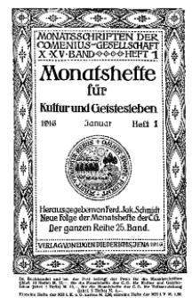 Monatshefte der Comenius-Gesellschaft für Kultur und Geistesleben, Januar 1916, 25. Band, Heft 1