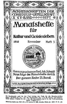 Monatshefte der Comenius-Gesellschaft für Kultur und Geistesleben, November 1916, 25. Band, Heft 5