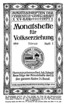 Monatshefte der Comenius-Gesellschaft für Volkserziehung, Februar 1916, 24. Band, Heft 1