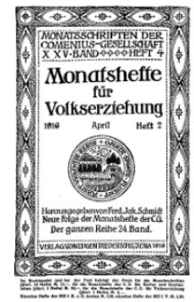 Monatshefte der Comenius-Gesellschaft für Volkserziehung, April 1916, 24. Band, Heft 2