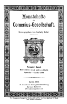 Monatshefte der Comenius-Gesellschaft, September - Oktober 1900, 9. Band, Heft 7-8