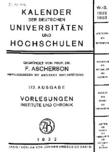 Kalender der Deutschen Universitäten und Hochschulen 1932/33