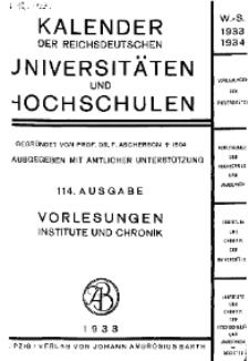 Kalender der Deutschen Universitäten und Hochschulen 1933/34